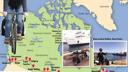 Katy Owen's cycle route across Canada.