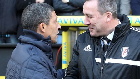 Chris Hughton will hope for a better outcome when Norwich City face Fulham in the FA Cup third round
