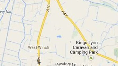 The A10 at West Winch where the collision occurred.