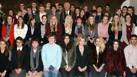 A group photograph of the award winners at the East Norfolk Sixth Form College ceremony with Great Y
