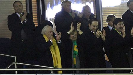 Norwich City's directors celebrate the 2-0 Premier League win at West Brom. Picture by Paul Chestert