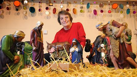Crib Festival at Holt Community Centre. Organiser Gillian Pilgrim pictured with one of the displays.