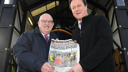 Prime minister David Cameron, pictured with Eastern Daily Press editor Nigel Pickover during a recent visit to Wells...