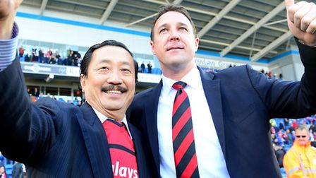 Cardiff City owner Vincent Tan and manager Malky Mackay.