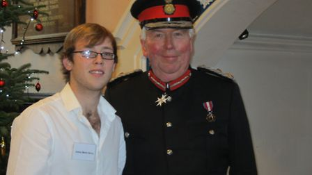 James Berry from Norwich, whose brother Matthew was an organ donor, receives an award from HM Lord L