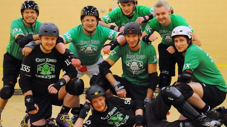 The East Anglo Smacksons roller derby team during training. From left, front, Nick Kirman (Chronick)