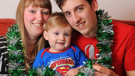 Leoni Barrett and her partner Andrew Stearman with their son George who was born on 25th December 20
