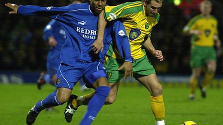 Huckerby in action during his final loan game, a 4-1 win against Cardiff City at Carrow Road, Pictur
