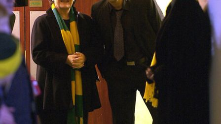 Delia Smith and Darren Huckerby prepare to take to the pitch on Boxing Day 2003, ahead of kick-off a