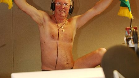 BBC Radio Norfolk presenter Roy Waller gets ready to run naked through the streets of Norwich after