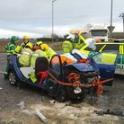 The scene of the Boxing Day crash on the A142