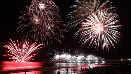 New Year's Day fireworks above Cromer Pier.