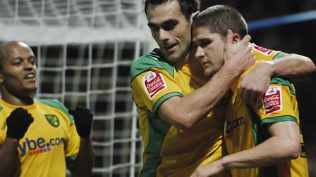 Norwich City V Leicester City. Carl Robinson celebrates his goal with Peter Thorne and Rob Earnshaw