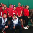Year 10 pupils from Archibishop Sancroft High with Bobby White, captain of the GB handball team, and