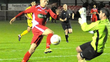 Tom James, red, scored four goals against S&L Corby earlier this season. Picture: Steve Williams