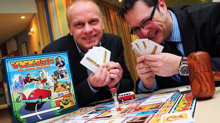 NNAB charity patron Jeremy Goss and game designer Elliott Symonds prepare for the game launch at the