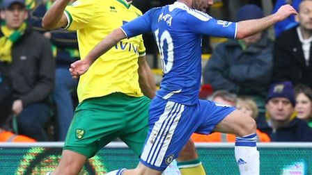 Norwich City's Dani Ayala shadows Spanish compatriot Juan Mata against Chelsea. Picture by Paul Ches
