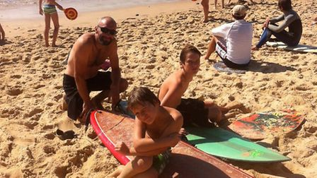 Ben and his sons at the beach