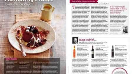 Recipe for fondant au chocolat in Living France March 2015