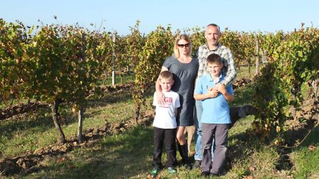 The Rowbotham family in their vineyard