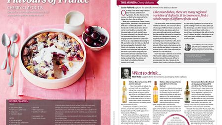A recipe for cherry clafoutis in the June 2015 issue of Living France
