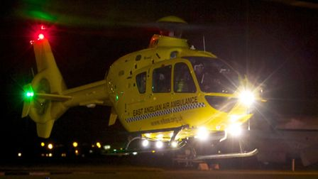The air ambulance in action at night