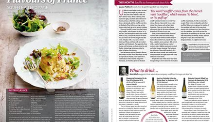 A recipe for cheese souffle in the July 2015 issue of Living France