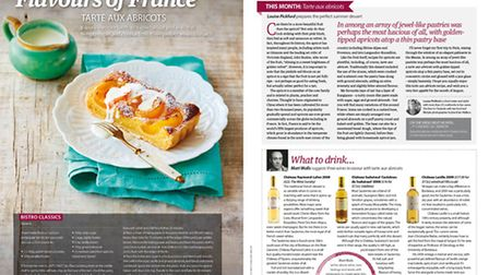 A recipe for apricot tart in the August 22015 issue of Living France