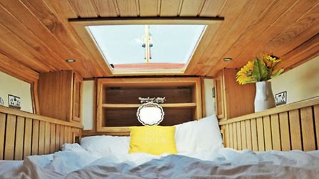 Hows this for an under-tug-deck bedroom the skylight makes it