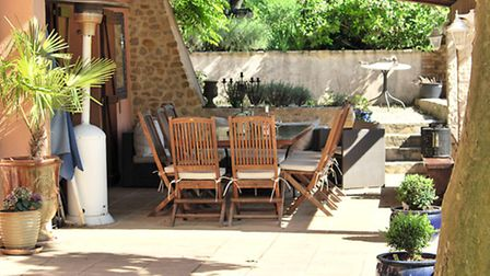 The terrace at Mas de Lauziers © Julie and Selwyn Aldred