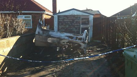 Gutted caravan in Sprowston. Picture David Bale