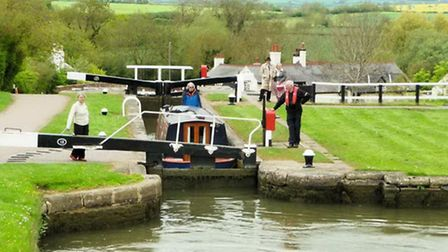 At Fradley Locks with a friend driving