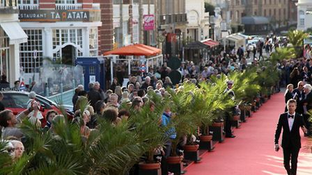 Fans line the red carpet at the British Film Festival in Dinard