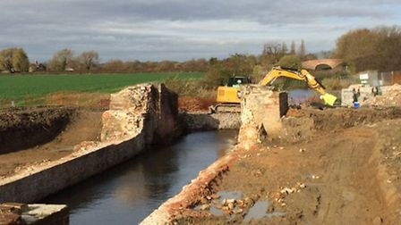 Lock 15 at Woolsthorpe is pictured with the chamber walls almost entirely dismantled