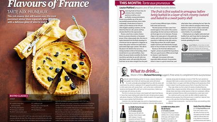 Recipe for tarte aux pruneaux in the February 2016 issue of Living France