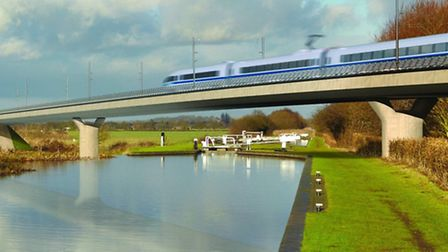 Artist's impression of the new railway crossing the Birmingham & Fazeley Canal at Curdworth