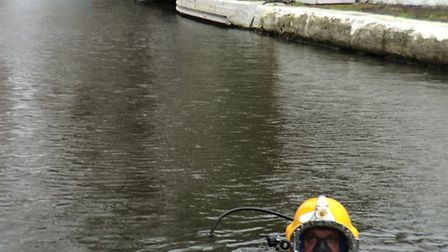 diver in the water in Little Venice