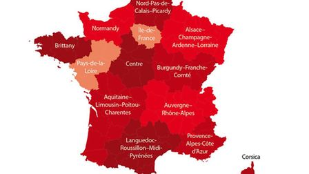 Map of France's regions