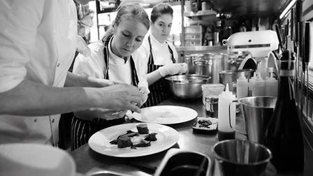 Marianne Lumb in the kitchens of her restaurant