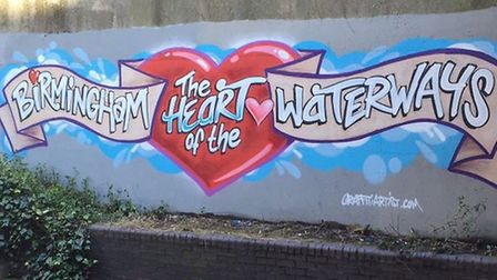A new piece of street art along the Birmingham & Fazeley Canal has been designed to welcome boaters