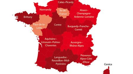 Regions of France map © Archant