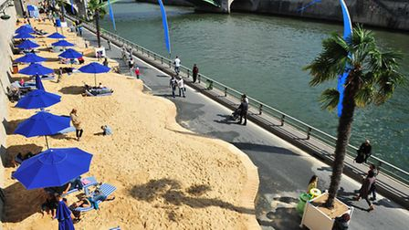 Paris Plages set up on the Seine during July and August