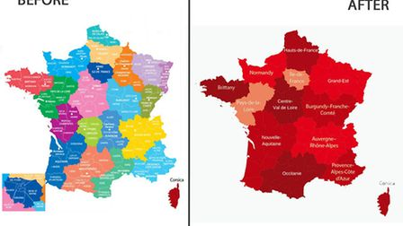 Map of the new regions of France © Archant