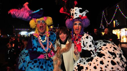 Southwold Christmas light switch on.TV star Amanda Barrie at the switch on.