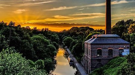 Sunset at Smethwick, Birmingham with a view of the Birmingham main line canal and the Galton valley