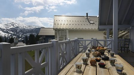 Terrace at chalet for sale in Flaine with Astrid Immo