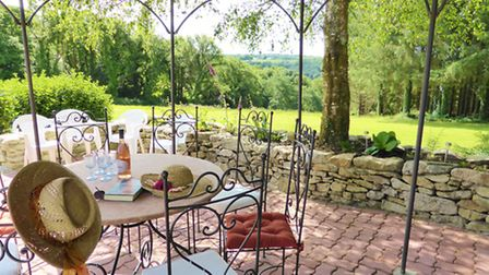 The garden terrace at the Andersons' home
