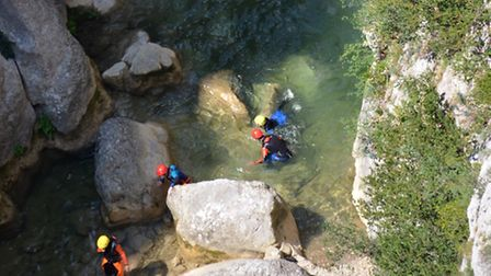 Canyoning in the Gorges de Galamus in Pyrénées Orientales ©Vassil