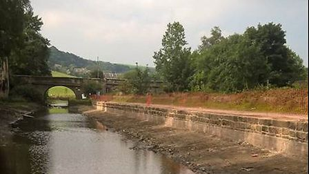 Rebuilt banks on the Rochdale Canal
