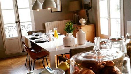 Breakfast in the stylish dining room of Meze Maison